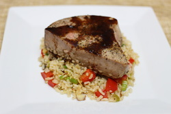 Tuna with Orange Ginger Glaze over Asian Rice Pilaf from Optimal Nutrition and Health
